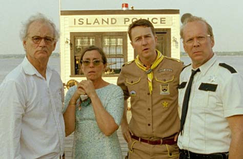 Moonrise Kingdom, Bruce Willis, Edward Norton, Bill Murray y Frances McDormand